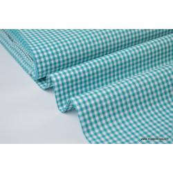 Tissu vichy petits carreaux 100%coton vert canard x1m