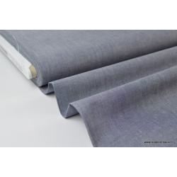 Tissu popeline coton uni tissé teint chambray coloris marine x1m