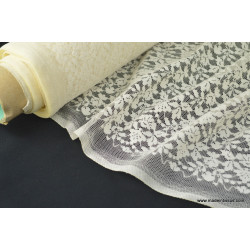 Tissu Dentelle fine ivoire pour robe de mariée .