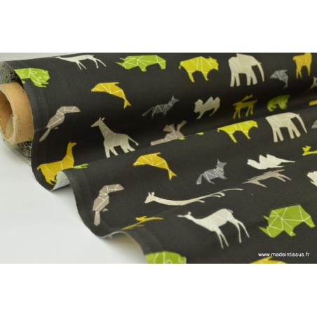 Tissu cretonne coton imprimé animaux géométriques fond noir x1m