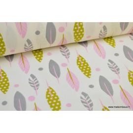 Tissu cretonne coton imprimé petites plumes roses, grises et moutarde x1m