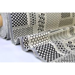 Tissu ameublement jacquard PATCH Noir et Blanc x 1m