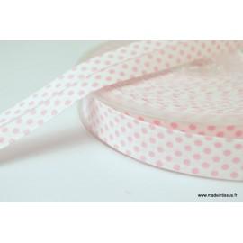 Biais replié 18 mm coton pois rose sur fond blanc