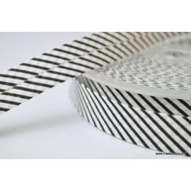 Biais replié 18 mm coton à rayures noir et blanc