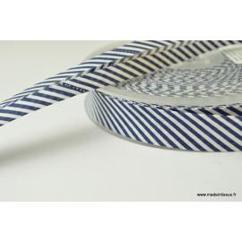 Biais replié 18 mm coton à rayures bleu marine et blanc