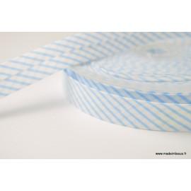 Biais replié 18 mm coton à rayures bleu et blanc