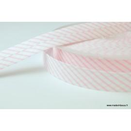 Biais replié 18 mm coton à rayures rose et blanc