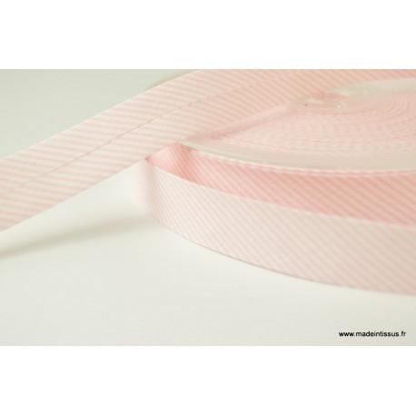 Biais replié 18 mm coton à fines rayures rose et blanc