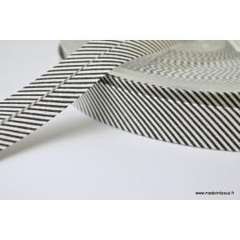 Biais replié 18 mm coton à fines rayures noir et blanc