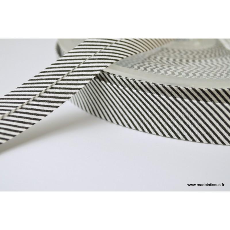 Biais en coton blanc 18 mm x 2 m.