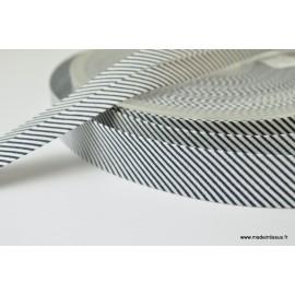 Biais replié 18 mm coton à fines rayures bleu marine et blanc