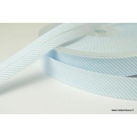 Biais replié 18 mm coton à fines rayures bleu ciel et blanc