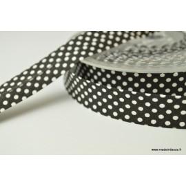 Biais replié 18 mm coton pois blanc sur fond noir