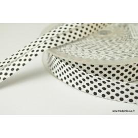 Biais replié 18 mm coton pois noir sur fond blanc