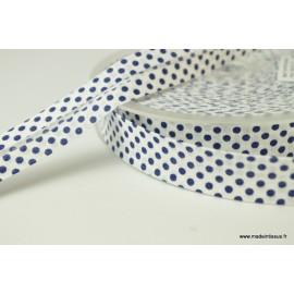 Biais replié 18 mm coton pois bleu marine sur fond blanc