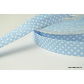 Biais replié 18 mm coton pois blanc sur fond bleu ciel