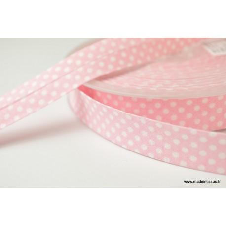 Biais replié 18 mm coton pois blanc sur fond rose