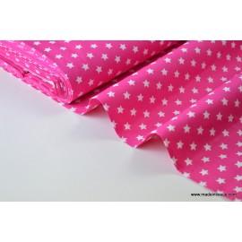Tissu popeline coton fuchsia étoiles blanches