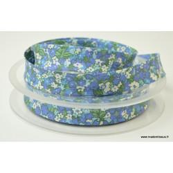 Biais replié 18 mm coton fleurs bleus - Oeko tex