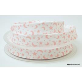Tissu Biais replié 18 mm coton imprimé Etoiles et Lunes Rose