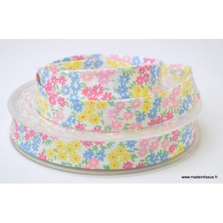 Biais replié 18 mm coton fleurs roses, bleus et jaunes