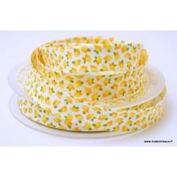 Biais replié 18 mm coton imprimé citrons