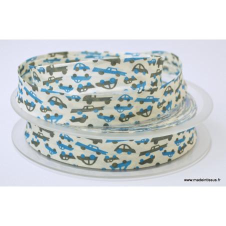 Biais replié 18 mm coton imprimé voitures bleues - Oeko tex