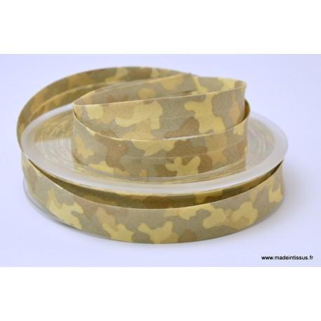 Biais replié 18 mm coton imprimé camouflage Beige
