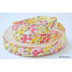 Biais replié 18 mm coton fleurs Fuchsia, roses et jaunes