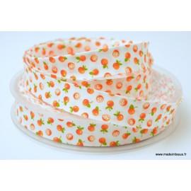 Biais replié 18 mm coton imprimé petites oranges