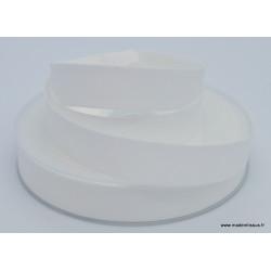 Biais replié 18 mm coton uni Blanc