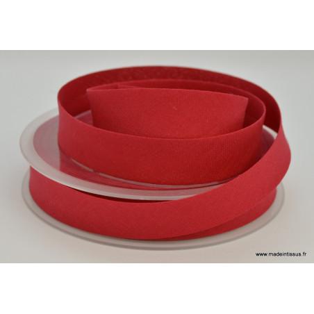 Biais replié 18 mm coton uni Rouge Hermès