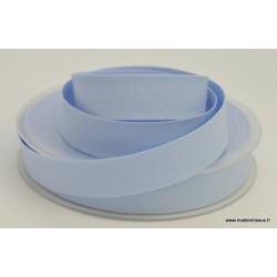 Biais replié 18 mm coton uni Bleu Myosotis