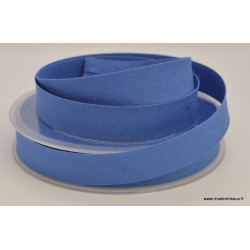 Biais replié 18 mm coton uni Bleu Azur