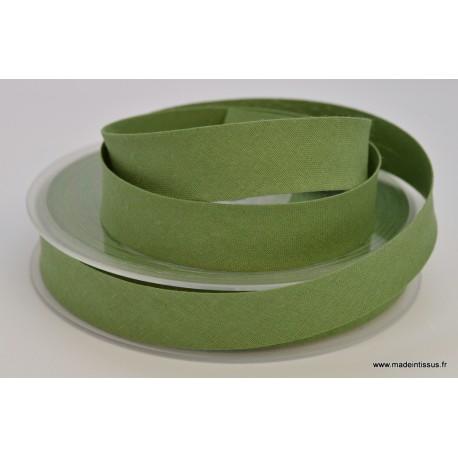 Biais replié 18 mm coton uni Vert Olive