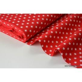 Tissu popeline coton rouge étoiles blanches
