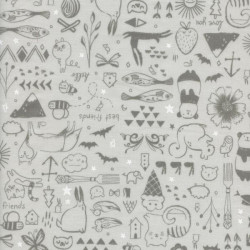 Tissu coton imprimé animaux gris by Cotton and Steel .x1m