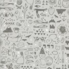 Tissu coton imprimé animaux gris by Cotton and Steel .x1m