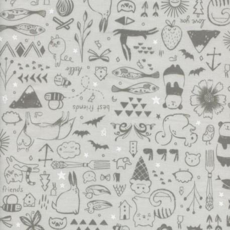 Popeline imprimée animaux gris by Cotton and Steel .x1m