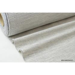 Tissu Natté gris avec un fil lurex argent