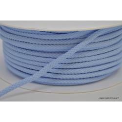 Cordon tressé 4mm coloris Bleu ciel