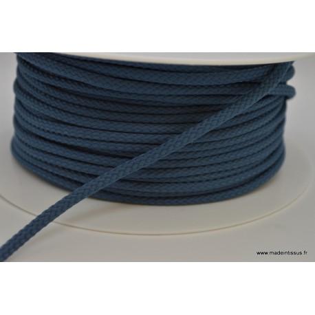 Cordon tressé 4mm coloris Bleu Jeans