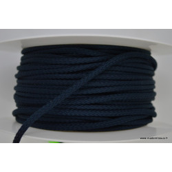 Cordon tressé 4mm coloris Bleu Marine