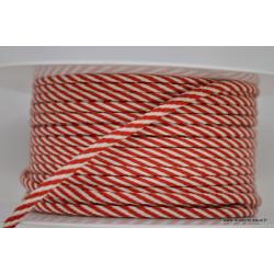 Cordon tressé 4mm coloris Rouge et Blanc
