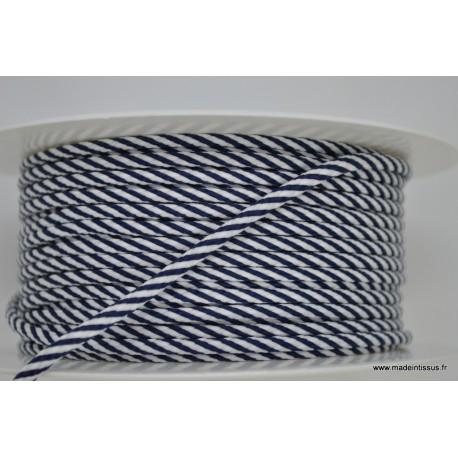Cordon tressé 4mm coloris Bleu Marine et Blanc