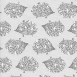 Tissu Popeline imprimé Herissons gris by Cotton and Steel .x1m