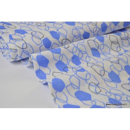Double gaze coton imprimé Maillons bleu et gris .x1m