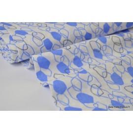 Tissu Double gaze coton imprimé Maillons bleu et gris .x1m