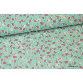 Viscose fluide imprimée fleurs rose sur fond menthe .x1m