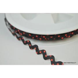 Serpentine Croquet à Pois rouge sur fond Noir 9mm x1m